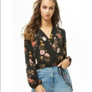 F21 forever 21 blouse wrapped cropped top blouse